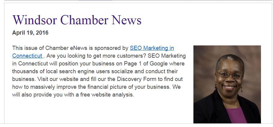 www.connecticutseoexpert.com wins Ad on Chamber of Commerce newsletter.